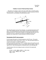 Feedback Control Of Ball and Beam System