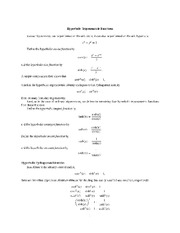 Hyperbolic Trig functions