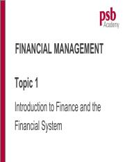 Topic 1 Intro to Mgr Fin (Chp 1)