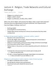 Lecture Notes - Religion, Trade Networks and Cultural Exchange