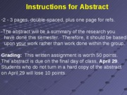 10 Abstract and Group Presentation Instructions