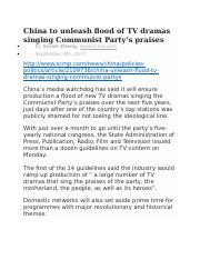 Week 5 Reading China to unleash flood of TV dramas singing Communist Party.docx