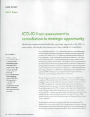 ICD-10 - from assessment to remediation to strategic opportunity.
