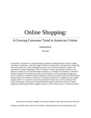 online shopping essay conclusion Online shopping is a new technology that has been created along with the development of the internet it is a convenient method of shopping and allows for a vast array of products to be at your fingertips.