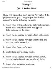 GeoI Quiz 7 Review Sheet