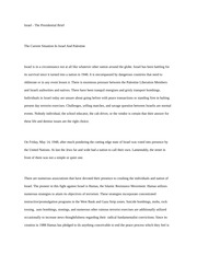Israel & Paletine The presidential Brief Essay