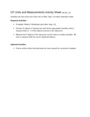 CP Physics Activity sheet 1 Units and Measurement