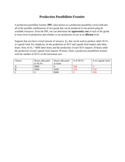 Production Possibilities Frontier worksheet - or capsule food. For