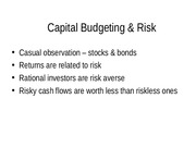 FINA 5311-9 Capital Budgeting and Risk