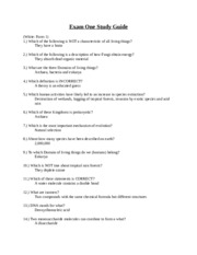 Biology 1010 - Exam One Study Guide