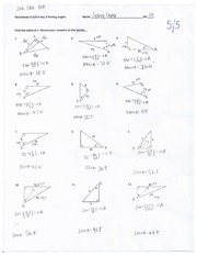 Finding Angles Homework