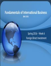 3101-101 - Week 6 - Foreign Direct Investment