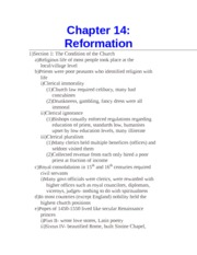 Chapter 14- Reformation
