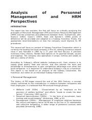 Analysis of Personnel Management and HRM Perspectives.docx