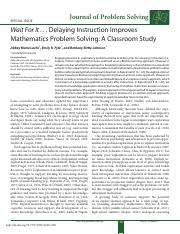 LoehrFyfeRittleJohnson_2014_Wait For It_Delaying Instruction ImprovesMathematics Problem Solving_A C