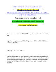 MTH 231 Week 5 Final Exam Guide Set 1.doc
