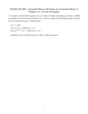 Math 472 Spring 2011 Chapter 11 Lecture Examples