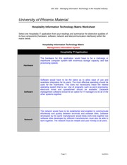 Week 1 Individual Assignment Hospitality Information Technology Matrix