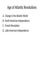 Age of Atlantic Revolutions