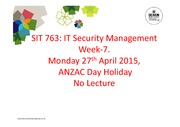 SIT763 Week-7 Lecture