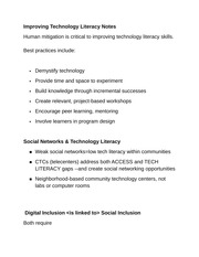 Improving Technology Literacy Notes