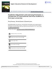 Academic Adjustment and Learning Processes a comparison of international and local students in first