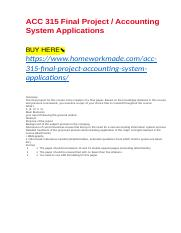 ACC 315 Final Project : Accounting System Applications.docx