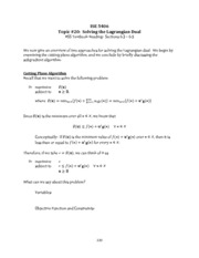 Topic 20 - Solving Lagrangian Duals