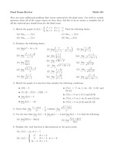 Math 121 Final Review Questions and Solutions