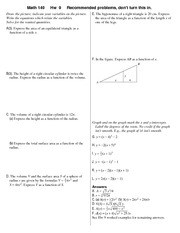 Recommended Problem Set 9 Solution