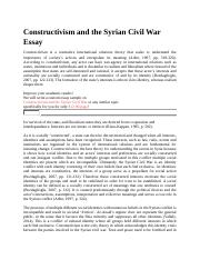 Constructivism and the Syrian Civil War Essay