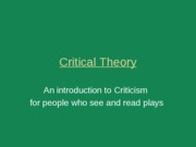 Class 6 - Critical Theory