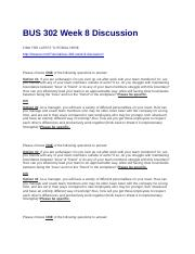 BUS 302 Week 8 Discussion