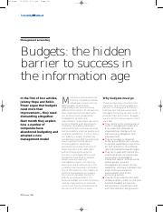 5-Budgets - The hidden barrier to successs in the information age