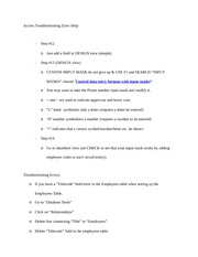 Access Troubleshooting Error Help