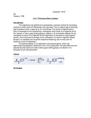 williamson ether synthesis lab alternative lab report