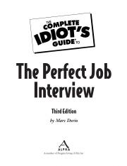 The Complete Idiots Guide to the Perfect Job Interview