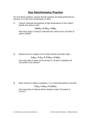 Gas Stoichiometry Worksheet - pressure of 1.0 atm and a temperature ...