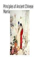 Principles of Ancient Chinese Marriage