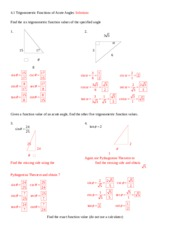 4.1 Trigonometric Functions of Acute Angles Solutions