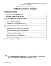 Supplementary learning materials for the issue on international relations (STUDENT)