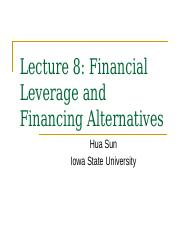 Lecture 8 Financial Leverage(1)
