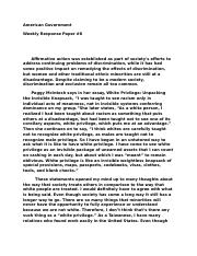 American Government  Weekly Response Paper #6.docx