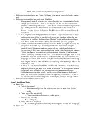 HIST 1001 Exam 2 Possible Discussion Questions and Reading Analysis