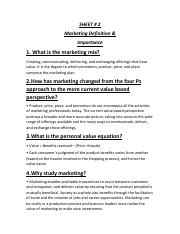 Sheet 2 Marketing
