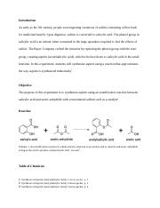 Synthesis of Aspirin -- Organic Chemistry Lab Report 7