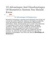 Convenience Convenience is another advantage with biometric