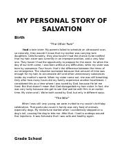 MY PERSONAL STORY OF SALVATION