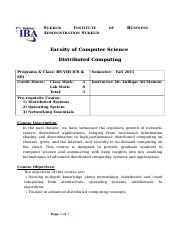 Course Outline - Distributed Computing - BS - VIII (CS & SE) Fall 2015.doc