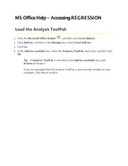 MS Office Help - Loading Analysis ToolPak to run REGRESSION - Notes